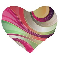 Abstract Colorful Background Wavy Large 19  Premium Flano Heart Shape Cushions