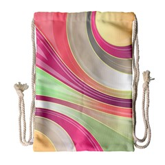 Abstract Colorful Background Wavy Drawstring Bag (large)