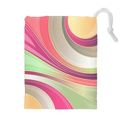 Abstract Colorful Background Wavy Drawstring Pouches (extra Large)