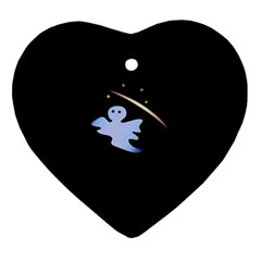 Ghost Night Night Sky Small Sweet Ornament (Heart)