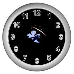 Ghost Night Night Sky Small Sweet Wall Clocks (Silver)