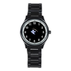 Ghost Night Night Sky Small Sweet Stainless Steel Round Watch