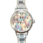 Abstract Colorful Background Tile Round Italian Charm Watch Front