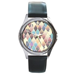 Abstract Colorful Background Tile Round Metal Watch