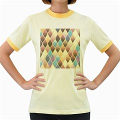 Abstract Colorful Background Tile Women s Fitted Ringer T Shirts
