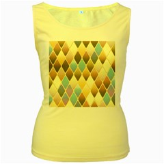 Abstract Colorful Background Tile Women s Yellow Tank Top