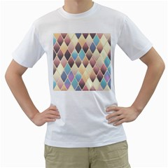 Abstract Colorful Background Tile Men s T Shirt (white) (two Sided)