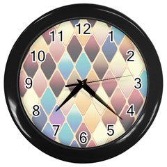 Abstract Colorful Background Tile Wall Clocks (black)