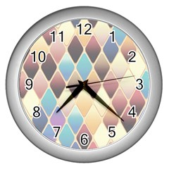 Abstract Colorful Background Tile Wall Clocks (silver)