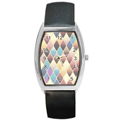 Abstract Colorful Background Tile Barrel Style Metal Watch