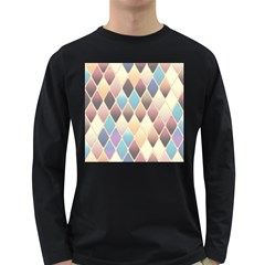 Abstract Colorful Background Tile Long Sleeve Dark T Shirts