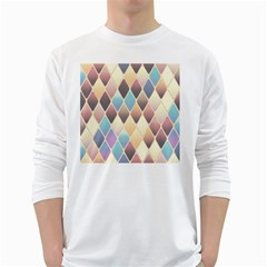 Abstract Colorful Background Tile White Long Sleeve T Shirts