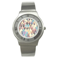 Abstract Colorful Background Tile Stainless Steel Watch