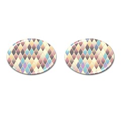 Abstract Colorful Background Tile Cufflinks (oval)