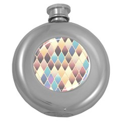 Abstract Colorful Background Tile Round Hip Flask (5 Oz)