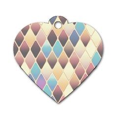 Abstract Colorful Background Tile Dog Tag Heart (two Sides)