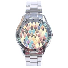 Abstract Colorful Background Tile Stainless Steel Analogue Watch