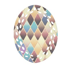 Abstract Colorful Background Tile Oval Filigree Ornament (2 Side)