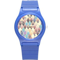 Abstract Colorful Background Tile Round Plastic Sport Watch (s)