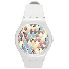 Abstract Colorful Background Tile Round Plastic Sport Watch (m)