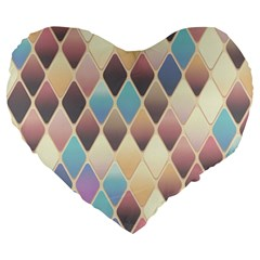 Abstract Colorful Background Tile Large 19  Premium Heart Shape Cushions