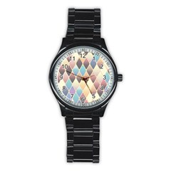 Abstract Colorful Background Tile Stainless Steel Round Watch