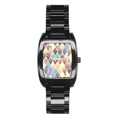 Abstract Colorful Background Tile Stainless Steel Barrel Watch