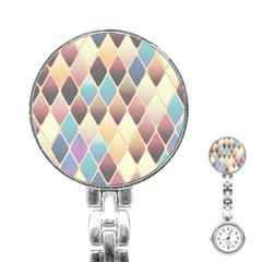 Abstract Colorful Background Tile Stainless Steel Nurses Watch