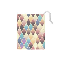 Abstract Colorful Background Tile Drawstring Pouches (small)