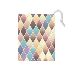 Abstract Colorful Background Tile Drawstring Pouches (medium)