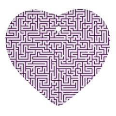 Maze Lost Confusing Puzzle Heart Ornament (2 Sides)