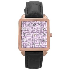 Maze Lost Confusing Puzzle Rose Gold Leather Watch