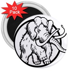Mammoth Elephant Strong 3  Magnets (10 Pack)
