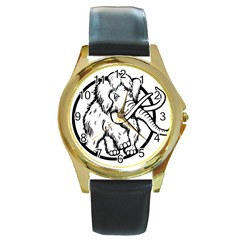 Mammoth Elephant Strong Round Gold Metal Watch
