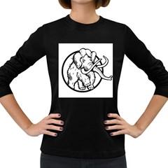 Mammoth Elephant Strong Women s Long Sleeve Dark T Shirts