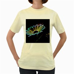 Flower Pattern Design Abstract Background Women s Yellow T Shirt
