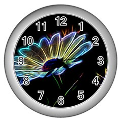 Flower Pattern Design Abstract Background Wall Clocks (silver)