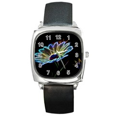 Flower Pattern Design Abstract Background Square Metal Watch