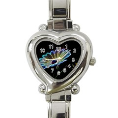 Flower Pattern Design Abstract Background Heart Italian Charm Watch