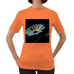 Flower Pattern Design Abstract Background Women s Dark T Shirt