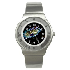 Flower Pattern Design Abstract Background Stainless Steel Watch