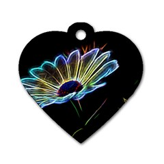 Flower Pattern Design Abstract Background Dog Tag Heart (two Sides)