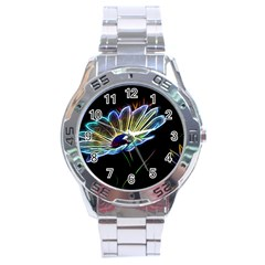 Flower Pattern Design Abstract Background Stainless Steel Analogue Watch