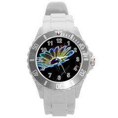 Flower Pattern Design Abstract Background Round Plastic Sport Watch (l)