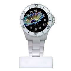 Flower Pattern Design Abstract Background Plastic Nurses Watch