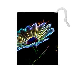 Flower Pattern Design Abstract Background Drawstring Pouches (large)