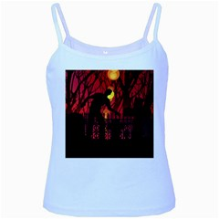 Horror Zombie Ghosts Creepy Baby Blue Spaghetti Tank