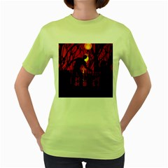 Horror Zombie Ghosts Creepy Women s Green T-Shirt