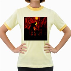 Horror Zombie Ghosts Creepy Women s Fitted Ringer T Shirts