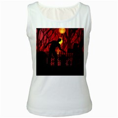Horror Zombie Ghosts Creepy Women s White Tank Top